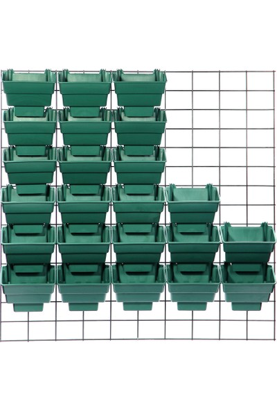 Ekoplas Wall Garden Modüler Duvar Bahçe Sistemi 30 Saksılı Yeşil Renk 1 M2