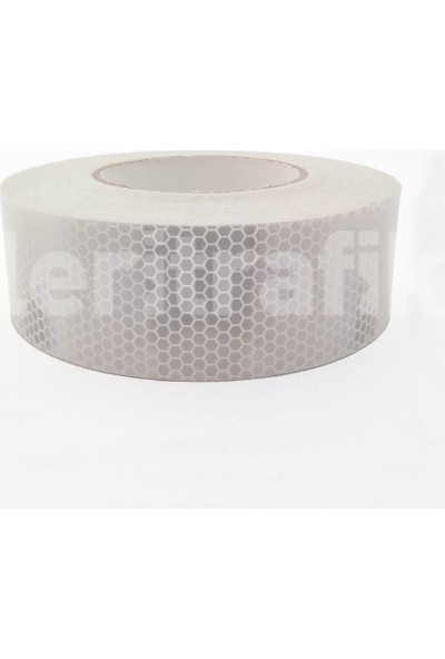 Mfk Plastik Reflektif Bant, Reflektif Şerit 5 cm x 46 M Beyaz Mikroprizmatik