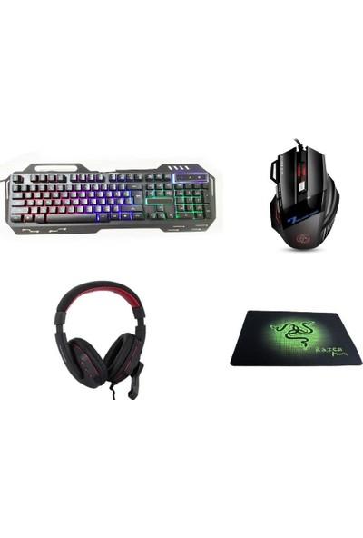 Gringo Pro Gaming Klavye Mouse Seti +Mousepad + Mikrofonlu Kulaklık