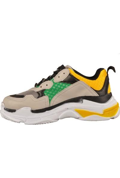 Walkway Sarı-Gri-Yeşil Kadın Spor Ayakkabı