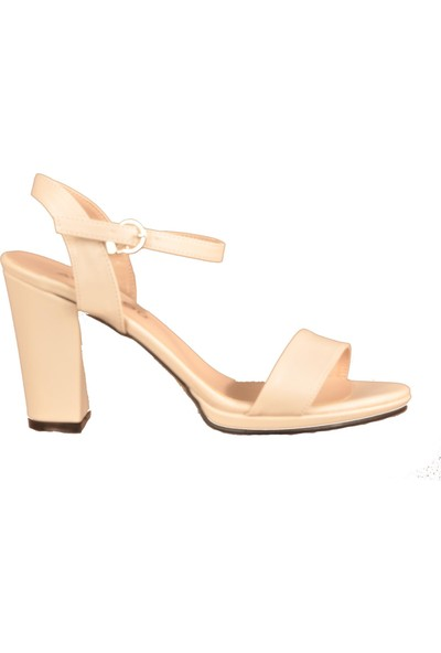 Ayakmod 500 Bej Kadın Topuklu Ayakkabı