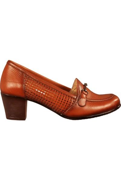 Ayakmod 421 Taba Kadın Topuklu Ayakkabı