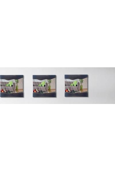 Tahta Dekor Masif Ahşap Dalga Desen 3lü Set Siyah Dekoratif Ayna