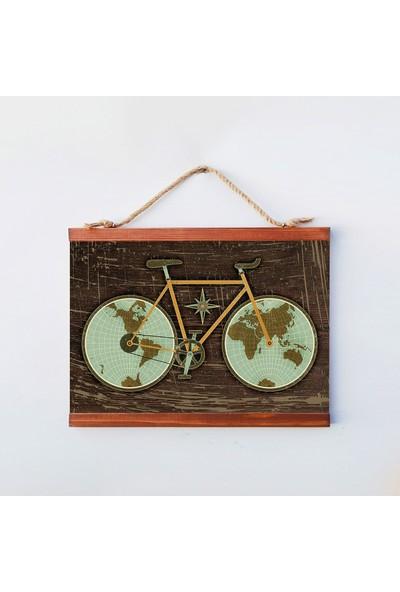 Tahta Dekor Dekoratif Ceviz Rengi Vintage Bisiklet Dünya Haritası