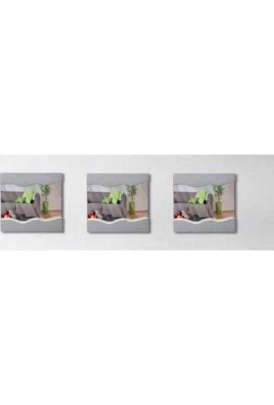 Tahta Dekor Masif Ahşap Dalga Desen 3lü Set Beyaz Dekoratif Ayna