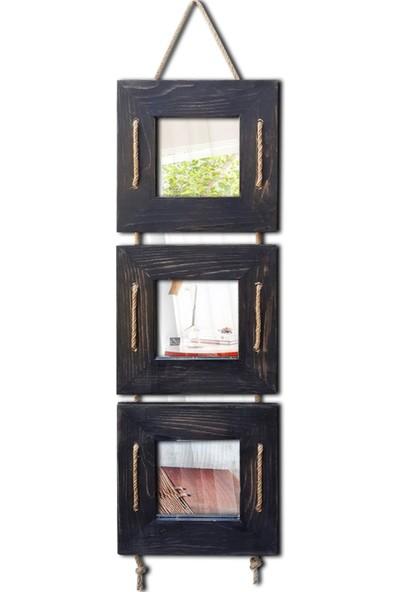Tahta Dekor Halat Askılı 3 lü Siyah Dekoratif Ayna