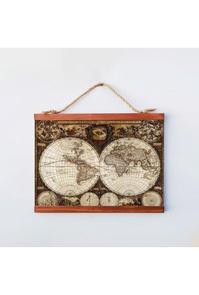 Tahta Dekor Dekoratif Dünya Haritası Duvar Panosu