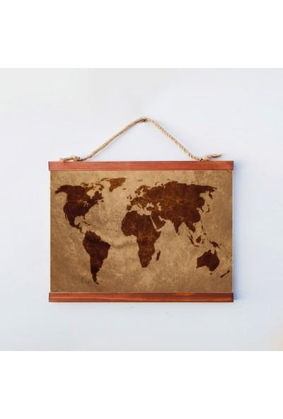 Tahta Dekor Vintage Ahşap Dünya Haritası Duvar Panosu
