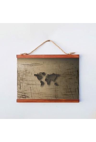 Tahta Dekor Dekoratif Ahşap Retro Dünya Haritası Duvar Panosu
