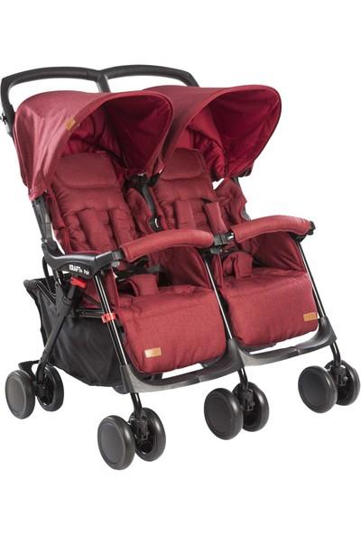 Kraft Pair Ikiz Yan Yana Bebek Arabası Kırmızı