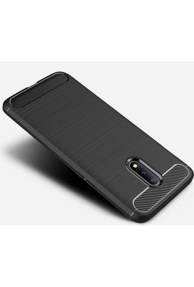 Microcase OnePlus 7 Brushed Carbon Fiber Silikon TPU Kılıf Siyah