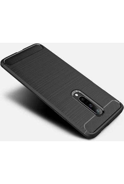 Microcase OnePlus 7 Pro Brushed Carbon Fiber Silikon TPU Kılıf Siyah
