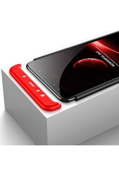 Microcase Samsung Galaxy A9 2018 Tam Koruma Kapak 360 Derece Kılıf Kırmızı-Siyah