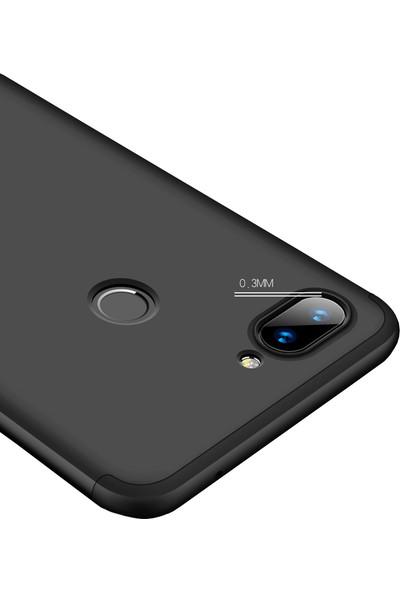 Microcase Xiaomi Mi 8 Lite Tam Koruma Kapak 360 Derece Kılıf Siyah