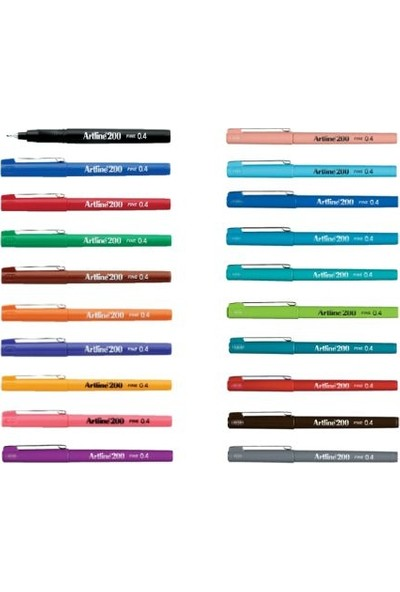 Artline 200 Fine 0.4 mm Ince Uçlu Yazı ve Çizim Kalemi 20'li Set