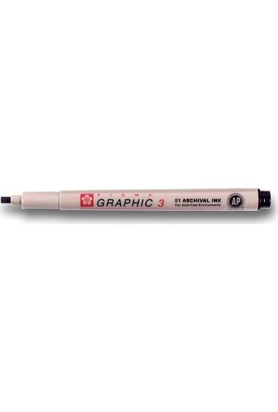 Sakura Pigma Graphic Kesik Uçlu Teknik Çizim Kalemi 3 mm Siyah