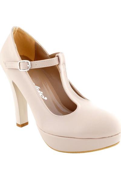 Ayakkabı Tarzım Bej Mat Topuklu Kadın Ayakkabı ALCK00548