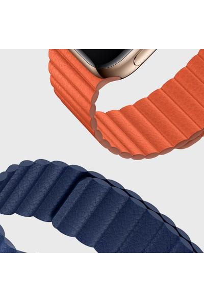 Microsonic Apple Watch Series 4 44 mm Twist Leather Loop Kordon Siyah