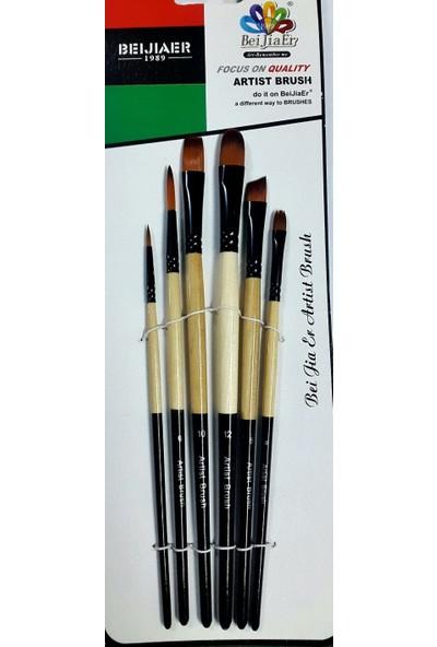 Beijiaer 6'lı Sentetik Kıllı Teknik Fırça Seti