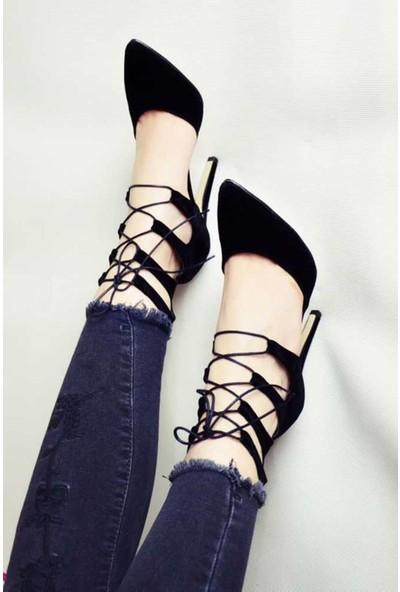Modabuymus Büyük Numara Bilek Bağcıklı Siyah Stiletto Topuklu Ayakkabı