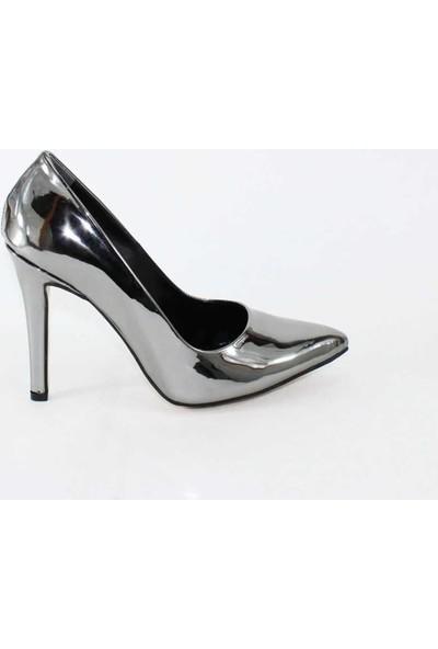 Modabuymus Parlak Platin Gri 10 cm Topuklu Stiletto Kadın Ayakkabı