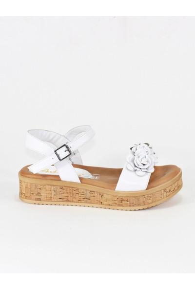 Modabuymus Ortopedik Tabanlı Beyaz Çicekli Hakiki Deri Kadın Sandalet