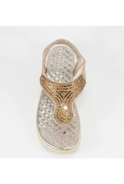 Crash Masaj Tabanlı Taşlı Parmak Arası Altın Dore Kadın Sandalet - Barbana