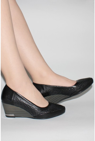 Modabuymus Hakiki Deri Dolgu Topuklu Yazlık Siyah Kadın Ayakkabı - Greatder