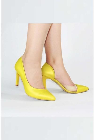 Modabuymus Sarı Yanı Açık Şeffaf Stiletto Topuklu Kadın Ayakkabı - Lotus