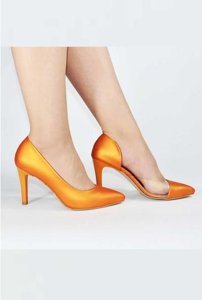 Modabuymus Turuncu Yanı Açık Şeffaf Stiletto Topuklu Kadın Ayakkabı - Lotus