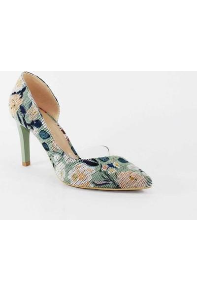 Modabuymus Çicek Baskılı Mint Yeşili Yanı Açık Şeffaf Stiletto Topuklu Kadın Ayakkabı - Lotus