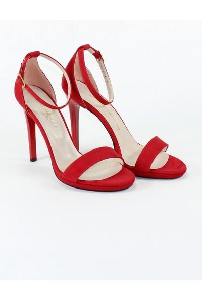 Modabuymus Tek Bantlı Kırmızı Süet Platform Topuklu Kadın Ayakkabı - Pirlx