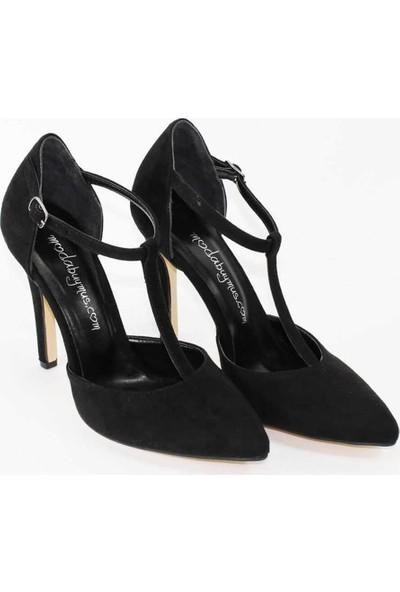 Modabuymus Siyah Süet Ortadan Bantlı Şık Stiletto Kadın Ayakkabı - Pole