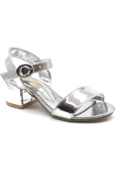 Sema Gri Arkası Açık Tek Bant Kız Çocuk Topuklu Ayakkabı