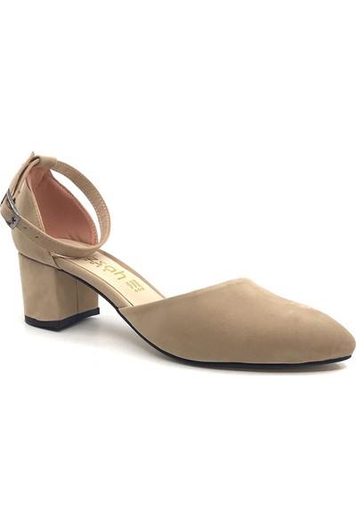 Gizsah Ten Karnıyarık Topuklu Süet Kadın Günlük Ayakkabı