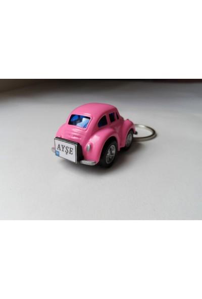 Hediye Aşkı Kişiye İsme Özel Pembe Plakalı Metal Vosvos Anahtarlık Beetle Volkswagen P