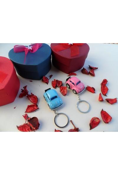 Hediye Aşkı Kişiye Özel 2 Adet Kutulu Pembe Mavi Plakalı Süslü Anahtarlık Hediye Kutusu