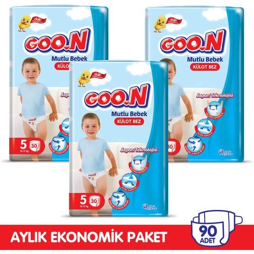 Goon Mutlu Bebek Külot Bez 5 Beden Aylık Ekonomik Paket 90 Adet