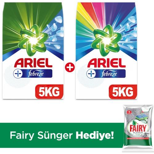 Ariel Plus Toz Çamaşır Deterjanı Febreze Etkili Beyazlar 5 kg + Parlak Renkler 5 kg + (Fairy Sünger)