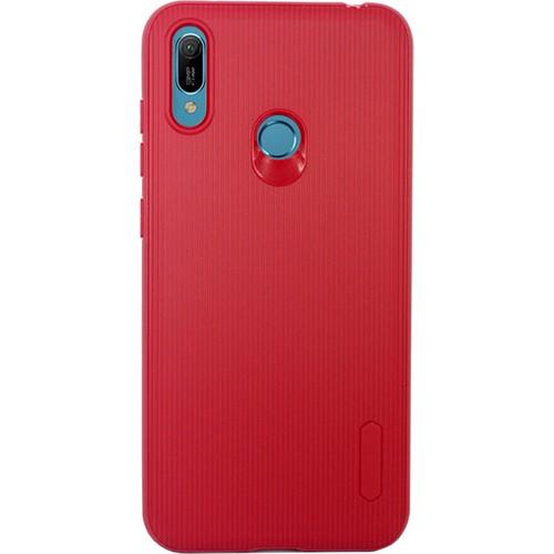 Case 4U Huawei Y6 Prime 2019 Kılıf Mat Silikon Çizgili Tio Arka Kapak Kırmızı