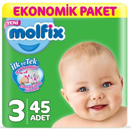 Molfix Bebek Bezi 3 Beden Midi Ekonomik Paket 45 Adet