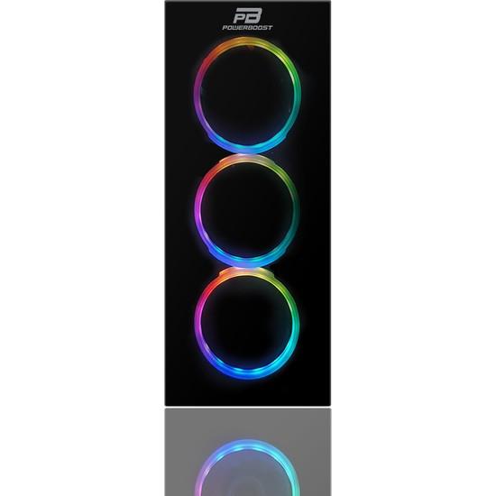 PowerBoost VK-G3902S 600w 80+ USB3.0 Full Siyah Tempered Glass Halo Rainbow RGB Fan Gaming Kasa (JBST-VKG3902S-600)