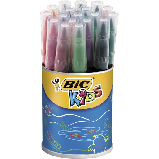 Bic Kids Visaquarelle Fırça Uçlu Keçeli Boya Kalemi 18 Renk Kavanoz