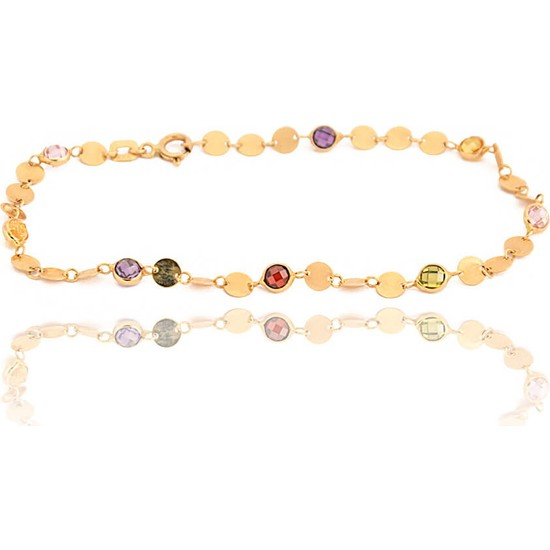 Dal Kuyumculuk 14 Ayar Sarı Altın Tiffany Kesim Renkli Taşlı Bileklik