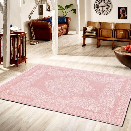 Türkmen Halı Gloria 4107 Pembe Kilim 80x150 cm
