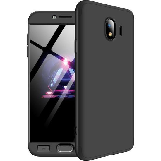 Kılıfreyonum Samsung Galaxy J6 Plus 360 Derece Tam Korumalı Kılıf Koruyucu Cam Siyah