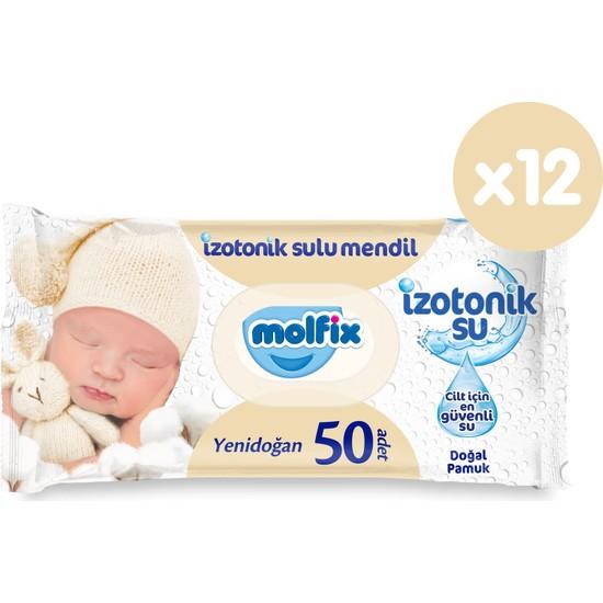 Molfix İzotonik Sulu Islak Mendil Yenidoğan 12'li Paket 600 Yaprak