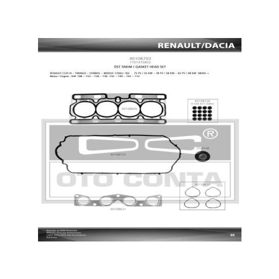 Oto-Conta Üst Takım Conta Keçelı Clio III 1200Cc 16V