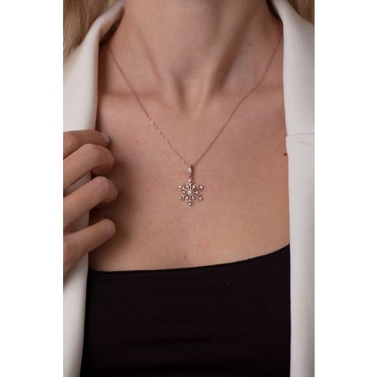 Ninova Silver Kar Tanesi Model Rose Kaplama Gümüş Kolye