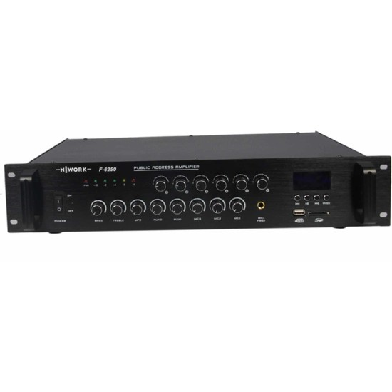 Nwork F-6250 250 W 6 Zone Volume Kontrol Hat Trafolu Mikser Amplifikatör